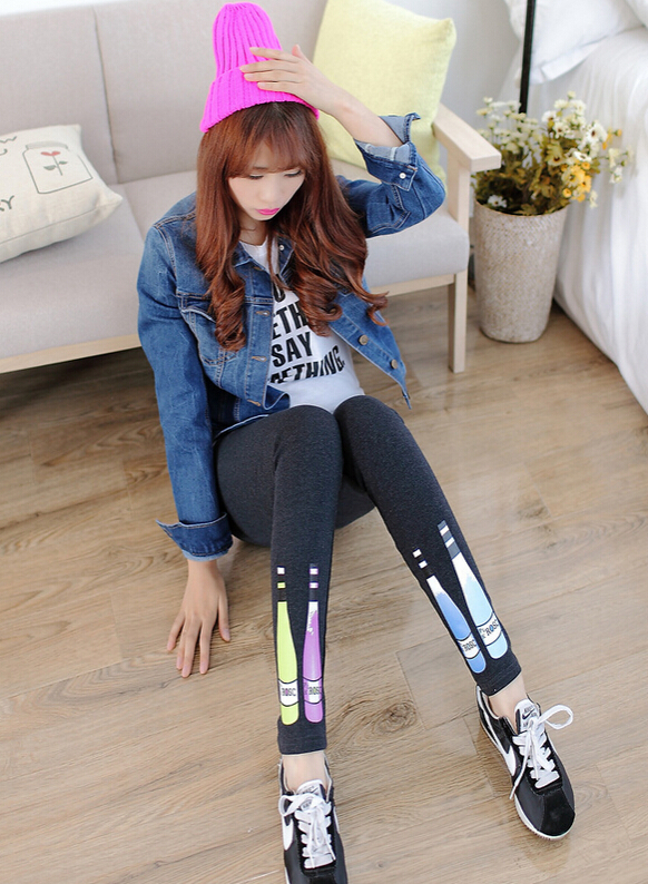 10pcs/lot free shipping punk style woman cotton legging foot bottles elastic knitted casual legging mid waist free size