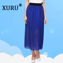 XURU summer new womens chiffon skirt elastic waist sexy large size fashion casual