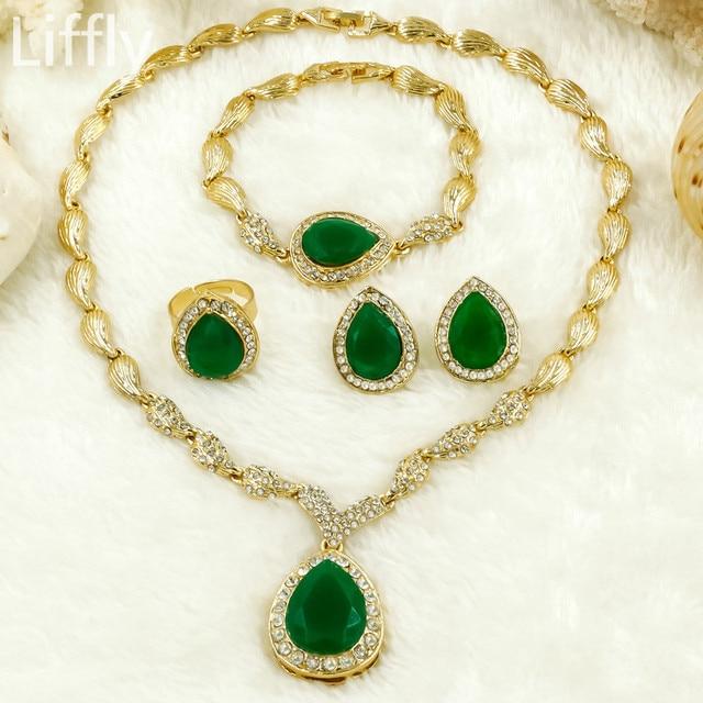 2018 Fashion Dubai Women Gold Jewelry Sets High Quality Green