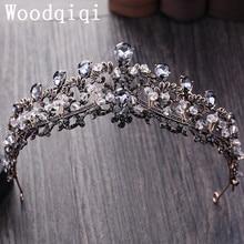 Woodqiqi Fashion Crown Bridal Headband Rhinestone Hair Band antique Gold Jewelry Crystal Crown Wedding tiara Accessories