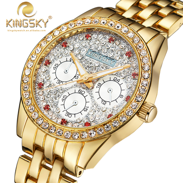 Relogio Feminino Ladies Quartz Wristwatch Hot Fashion Brand KINGSKY Watches Brass Analog Women Dress Watch Stainless Steel 2016