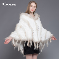 Gours Women's Fur Wrap Winter Warm Ladies Knitted Natural Rabbit and Raccoon Fur Shawl with Hooded Fashion Poncho Pashmina New