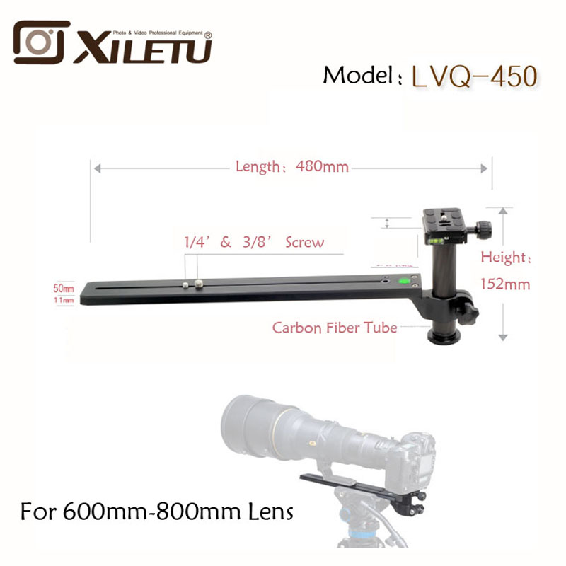 Xiletu LVQ-450 Stable Telephoto Zoom Lens Bracket Tripod Monopods Quick Release Plate With Clamp Width 38mm Length 450mm