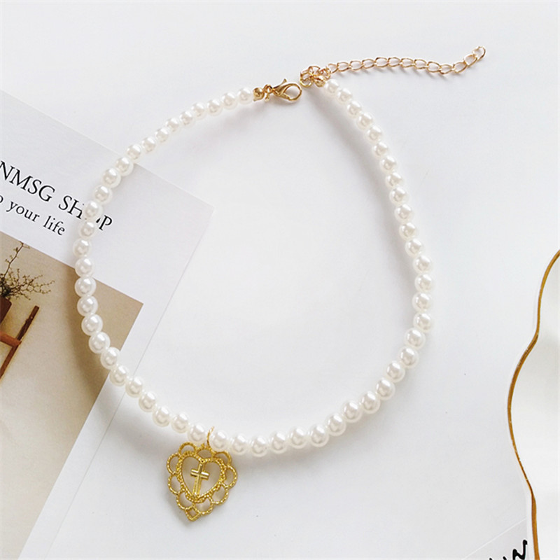 Pearl necklace aesthetic personality girl jewelry necklace Decorative geometric exaggerated necklace necklace jewelry fashion