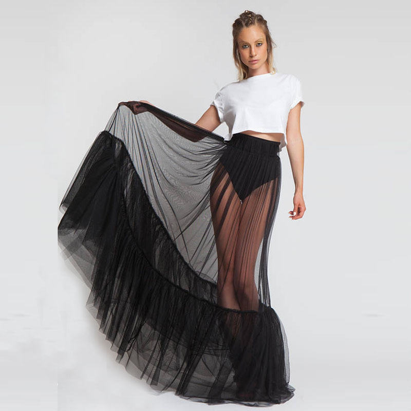 2018 New Design One Layer Black Sexy Maxi Prom Skirt See Through Women Black Long Tulle Skirt With Ruched Edge Custom Made