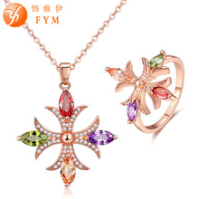 FYM Fashion Rose Gold Color Wedding Jewelry Sets Necklace + Ring Women Multicolor Cubic Zircon Necklace Ring Set For Party blucome brand design rose gold color square cubic zircon ceramic earrings ring set chinese porcelain women wedding jewelry sets