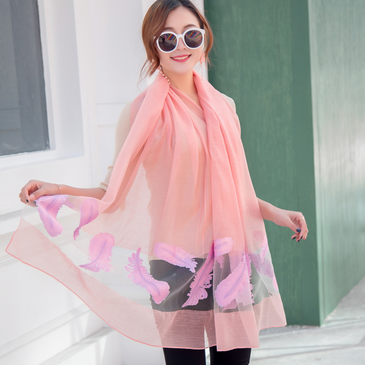 Apparel Accessories The Spring And Summer Silk Scarf Woman Eugen Cut Yarn Scarf Sandy Beach Sunscreen Joker Lace Leaf Wholesale Supplies 0304 A Great Variety Of Models