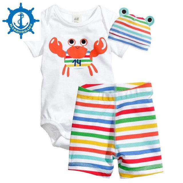 2016 Boys Clothing Set Cotton 8Style Kids Clothes Baby Boy Girl Short Sleeve And Pants Set Cute Animal 3 PCS  1Set HB005