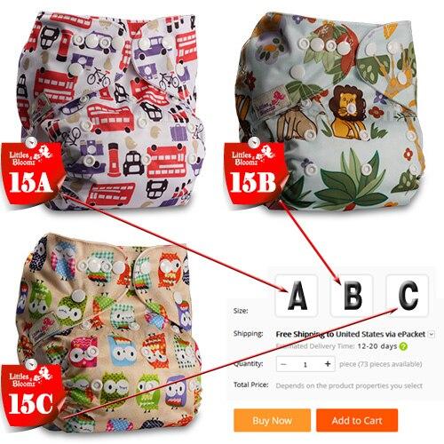 [Littles& Bloomz] Детские Моющиеся Многоразовые Тканевые карманные подгузники, выберите A1/B1/C1 из фото, только подгузники/подгузники(без вставки - Цвет: 15