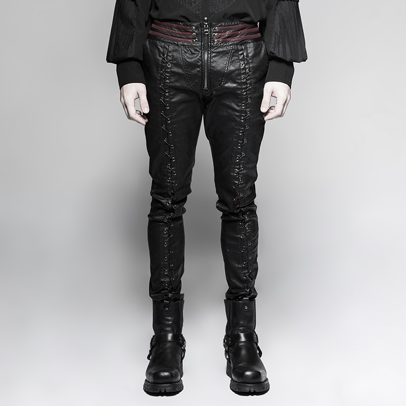 2018 New Fashion Gothic Vampire Piaget Bloody Decoy Trousers Men's Cross Strap Trousers Punk Style Zipper Black Red Pants