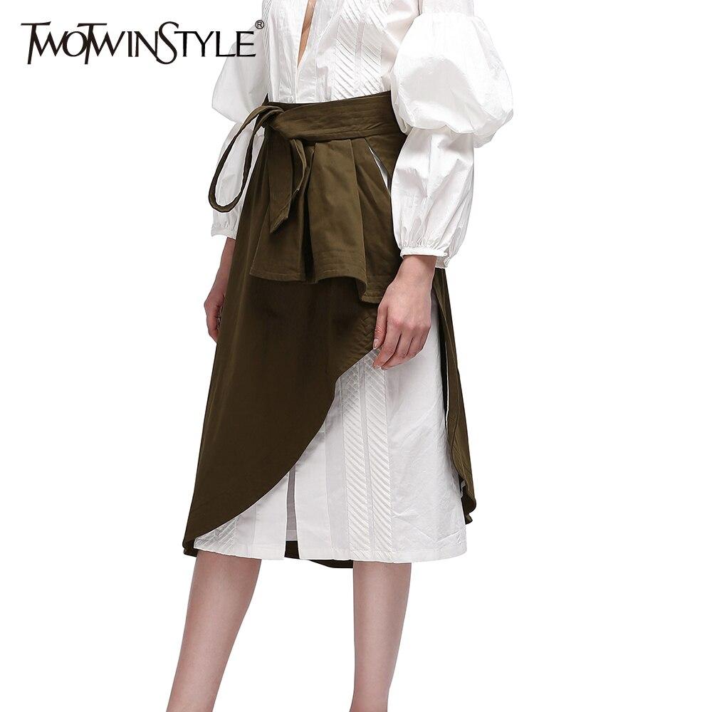 TWOTWINSTYLE Wrap Kadınlar Etekler Midi Fırfır Lace up Yüksek Bel - Bayan Giyimi - Fotoğraf 2