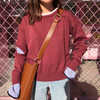 Fashion Knitting Loose O Neck Striped Pullovers False Two Shaft Lining Sleeves Openings Blouse Shirt Pink