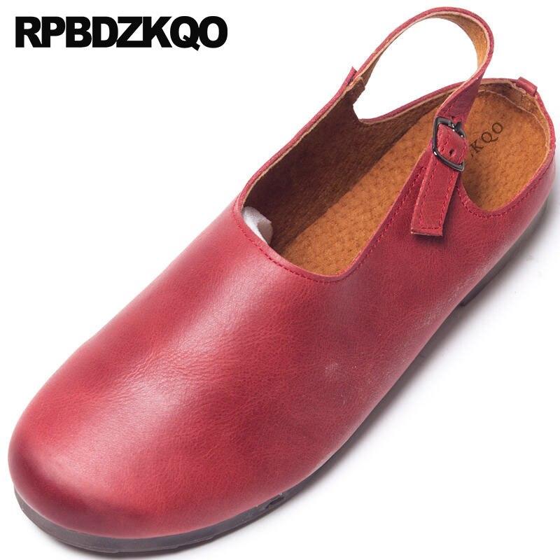 Retro China Slingback Tradicional Mujeres Del 2018 Genuino Sandalias Señoras A Rojo Redondo Cuero De Dedo Pie Diseñador Hecho Pisos Chino Mano Zapatos gTSxYwOq