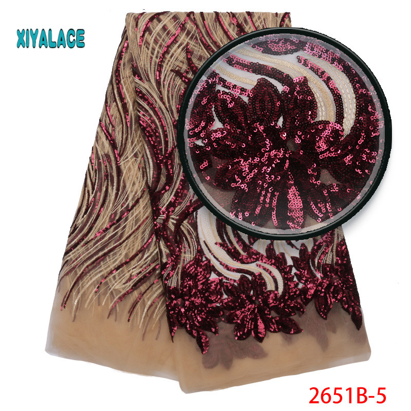 African Lace Fabric 2019 High Quality Sequins Lace Fabric Embroidery Tulle African French Lace For Nigerian Party Dress 2651b-in Lace from Home & Garden    3