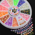 Colorful Fluorescent 3D Acrylic Glitters DIY Decal Nail Art Stips Stickers Wheel  4RAQ