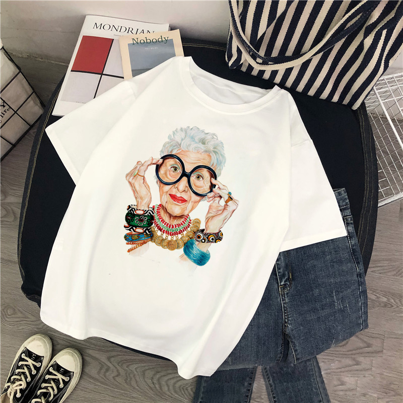 2019 New Summer Fashion Grandmother Print T Shirt Women  O-neck Short Sleeve Harajuku Tops For Tshirt Gothic Streetwear T-shirts