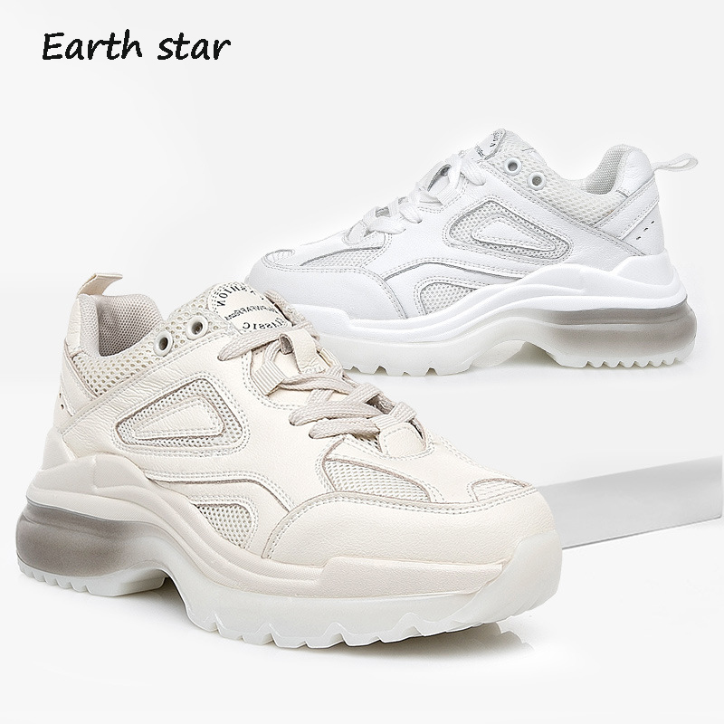 73f0958dab0 Chaussures Plate Beige Cuir forme Sneakers attaché Croix Dame Véritable  Respirant Patchwork Marque Chaussure Femmes En ...
