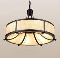 Chinese circular pendant light retro Hotel creative study e27 minimalist iron cloth restaurant project lamps pendant lamps ZA924