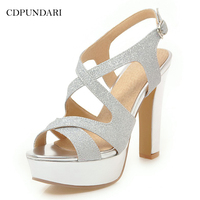 CDPUNDARI Gold Silver Super High heel Sandals women Platform Sandals Ladies summer shoes woman Black white