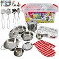 Nova chegada das crianças toys menina casa utensílios de cozinha talheres de aço inoxidável pequeno barril pacote educação toys set