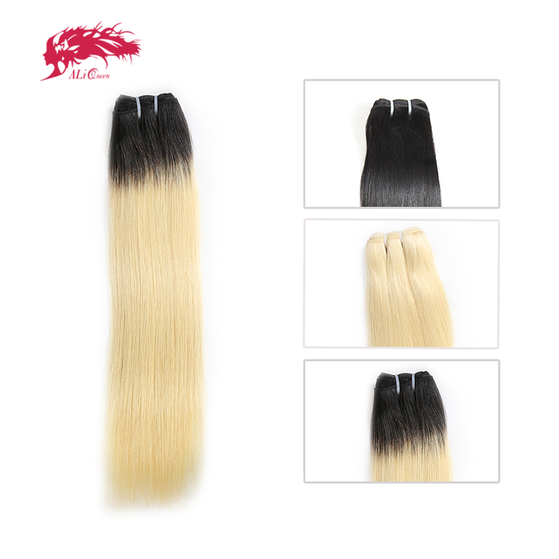 Ali Queen Products Brazilian 1/3/4 Pcs Unprocessed Virgin Hair Straight Human Hair Bundles Blonde 613/Natural Black/1b-613