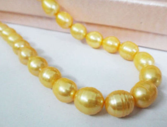 """Women Gift word Love women Fashion Jewelry Wholesale price 16new ^^^^^^17"""" 11-13MM SOUTH SEA GOLDEN NATURAL PEARL NECKLACE YELLO"""