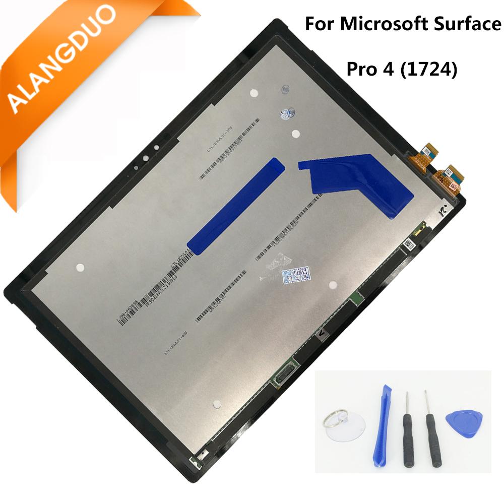 Prix pour Alangduo assemblée lcd d'origine pour microsoft surface pro 4 (1724) ltn123yl01-001 lcd affichage écran tactile digitizer remplacement