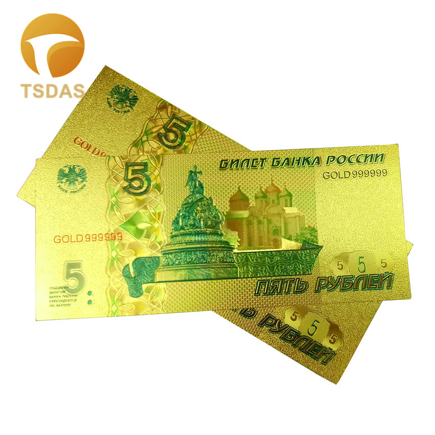 1pcs Colored Russia Gold Banknote New 5 Ruble Gold Plated Bill Banknote In 24k Gold Foil Commemorative Gold Banknotes
