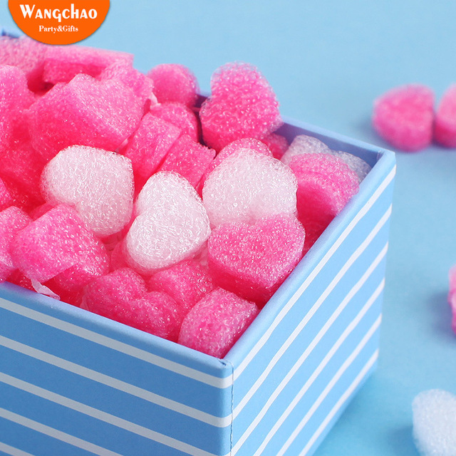 50pcs/bag Gift Box Fluffy Slime Filler Sludge Clay Pink Heart Love Beads Foam Strip Slime DIY Wedding Favors Flower Box Filler