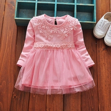 vestidos Baby Dresses Cotton Long Sleeve O Neck Flower Lace Patchwork Mesh Princess Birthday Party Kids Girls Tutu Dress