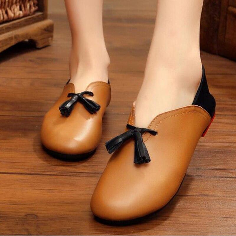 Hecho a mano de cuero genuino zapatos planos del ballet de las mujeres antidesli