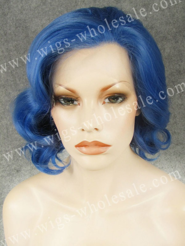 ФОТО Celebrity style short curly blue cosplay wig synthetic lace front blue wig free shipping
