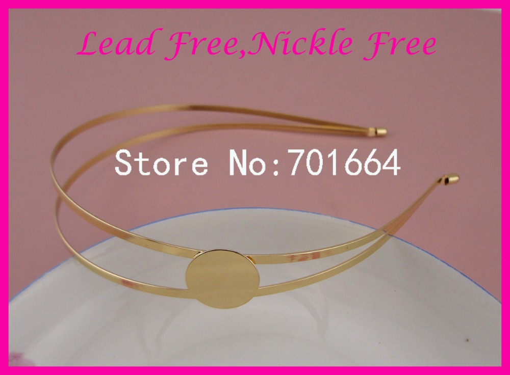 5PCS Golden Plain Double Layers double Wires metal Hair Headbands hairbands