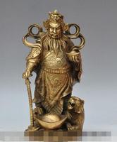 S00363 13 china brass wealth money coin ingot Zhongkui tiger Evil spirits lucky statue B0403
