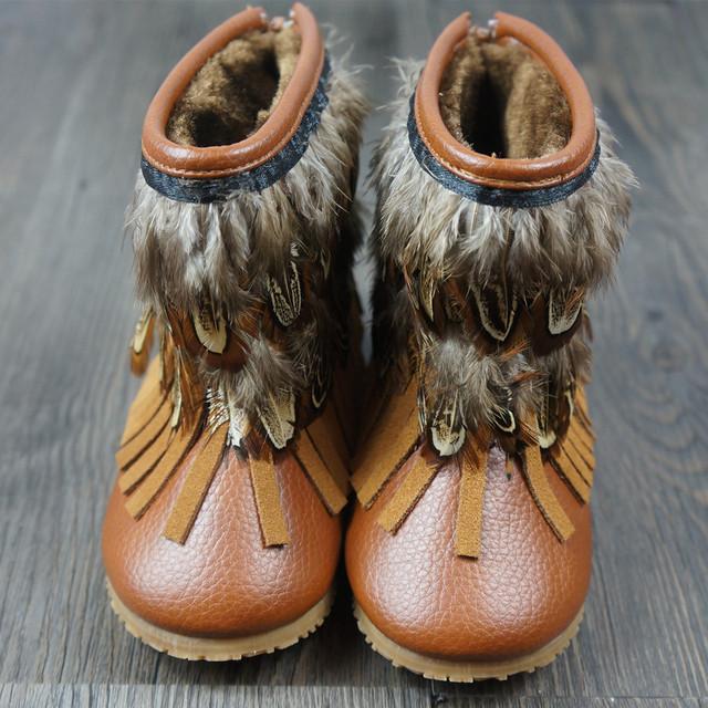 Corderos de lana Bebé mocasines de Cuero Genuino de los bebés botas de invierno de Plumas Engrosamiento bebé cargador de la nieve