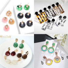 Bohemian Women's Earrings Summer Acetate Metal Bright Geometric Acrylic Retro Pendant Earrings Fashion Jewelry Gift 2019 New(China)