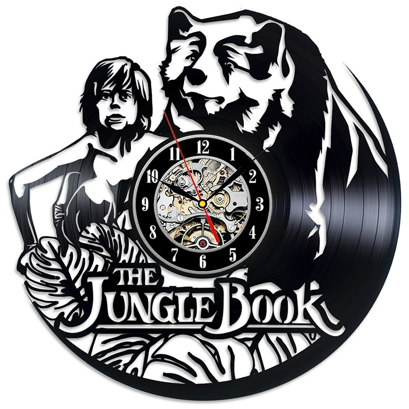 The Jungle Book Mowgli Vinyl Record Wall Clock - Gift for kids, girls and boys LED with 7colors