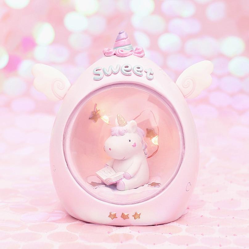2019 New Cute Animal Cartoon Led Night Light Home Decor Light Resin Unicorn Light Bedside Table Lamp Gifts For Girls Light Up Plush Light - Up Toys Stuffed Animals & Plush
