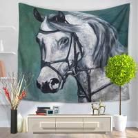 CAMMITEVER White Black Brown Horse Tapestry Mandala Tapestry Wall Hanging Boho Tapestry Hippie Hippy Tapestry Beach