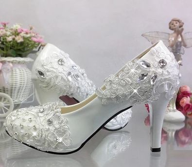 High heel platforms wedding shoes women round toes silver rhinestones lace bridal  shoes female lady sweet party pumps 79afa0cd1788