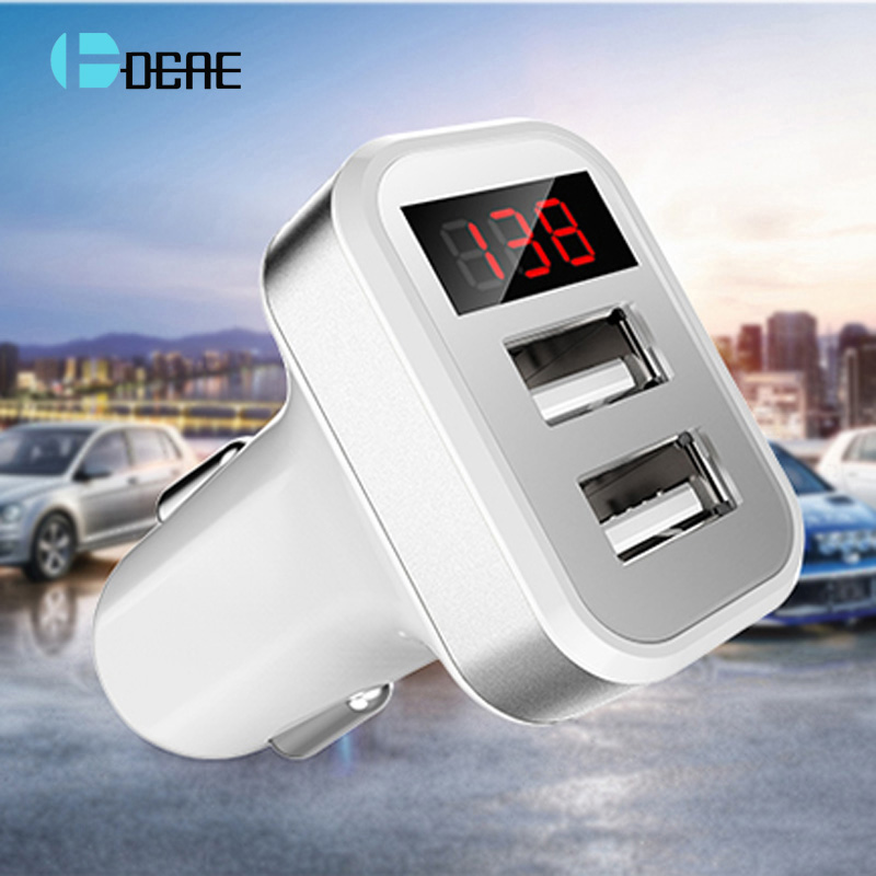 Car Charger Quick Digital Display Dual USB Port for iPhone iPad Samsung S7 S8 HTC Xiaomi Huawei Phone Adaptor Fast car-Charger