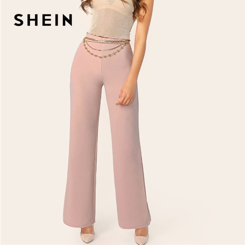 SHEIN Pink Mid Waist   Wide     Leg     Pants   Women Spring Plain Trousers 2019 Office Lady Elegant Elastic Waist Workwear Long   Pants