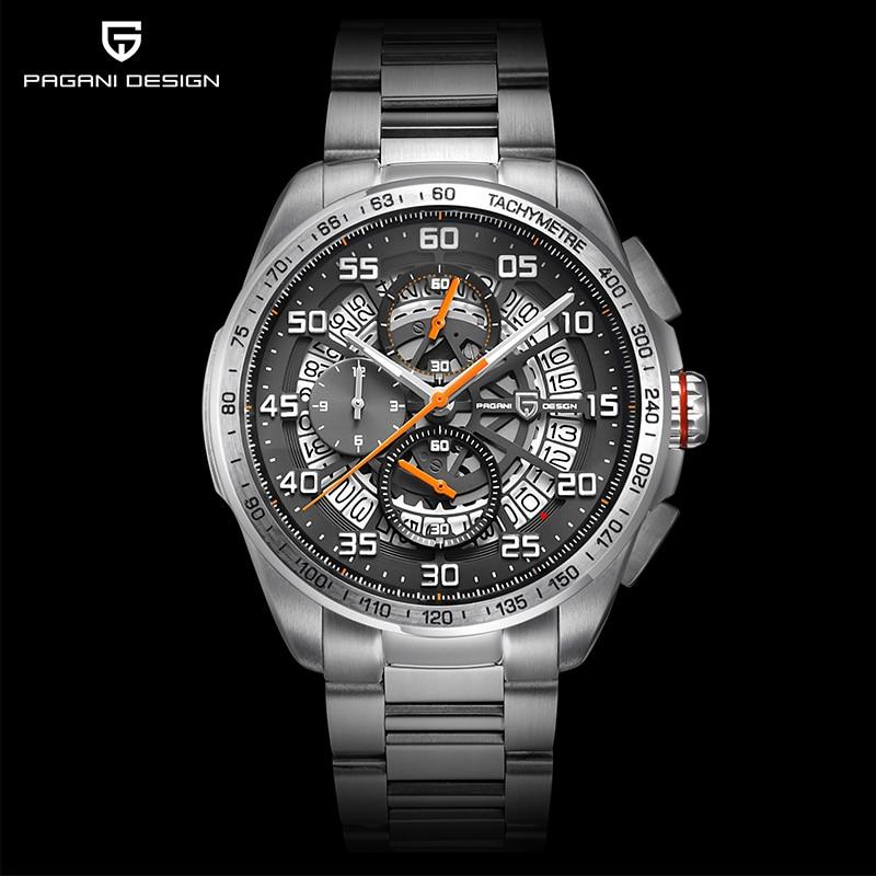 PAGANI DESIGN Luxury Brand Waterproof Leather Quartz Skeleton Watches Sports Chronograph Men's Watches Relogios Masculino saat