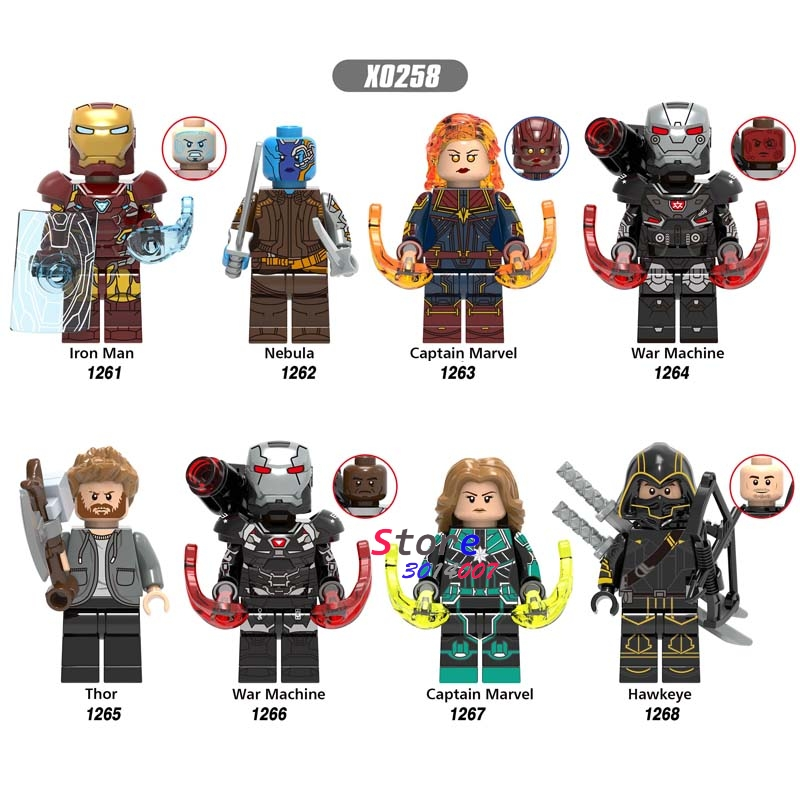 50pcs Avengers Endgame War Machine Iron Man Nebula IronMan Thor Captain Marvel Hawkeye building block for