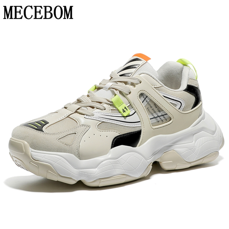 2019 New Men Casual Shoes Beige Web Celebrity Thick Sole Dad Shoes For Male Breathable Mesh+Pu Men Chunky Sneakers 9600m