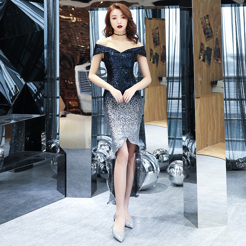 Fashionable Sliver Sequined   Cocktail     Dress   Elegant High Low Evening Party   Dresses   Mermaid Prom   Dress   Estelyi Ruha