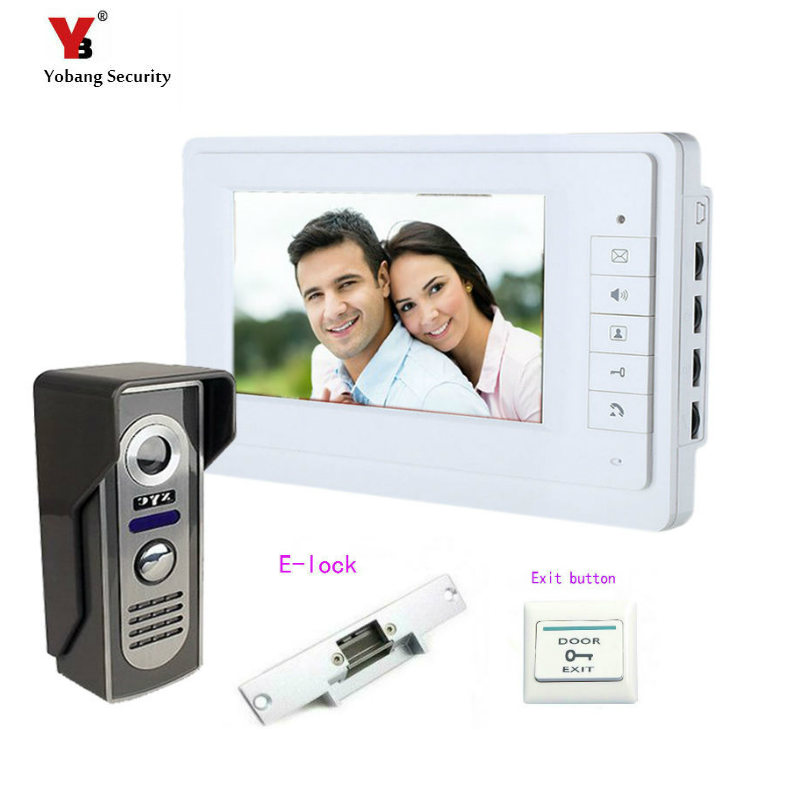 Yobang Security 7 inch Video intercom Door Release Door Bell Camera Door Phone Intercom System HD Doorphone +Electric lock