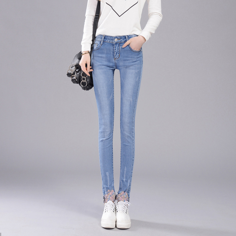 European ripped elastic jeans women embroidery bleached high quality fashion all match cowboy denim slim pencil pants HM127 u best high quality ox chaise lounge original ox lounge chair with ottoman ox chair leather ox chair