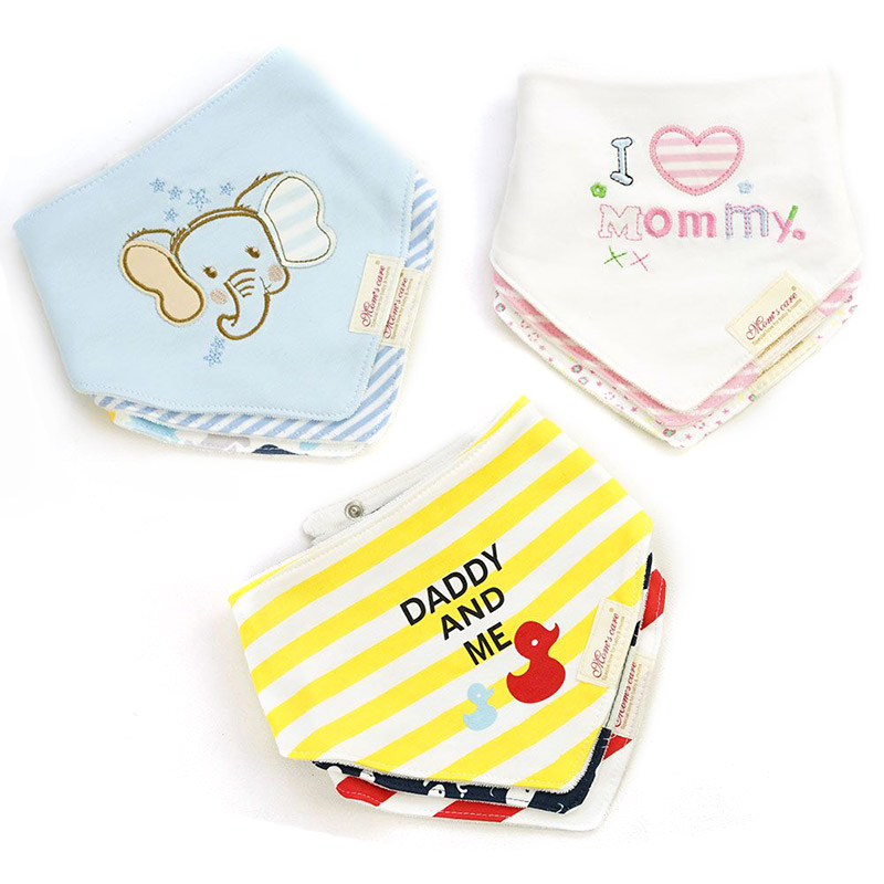 [Mom's Care] 3Pcs/Lot Kids Cute Printing Soft Bandana Newborn Toddler Baby Cotton Bibs Infant Feeding Baby Accessories