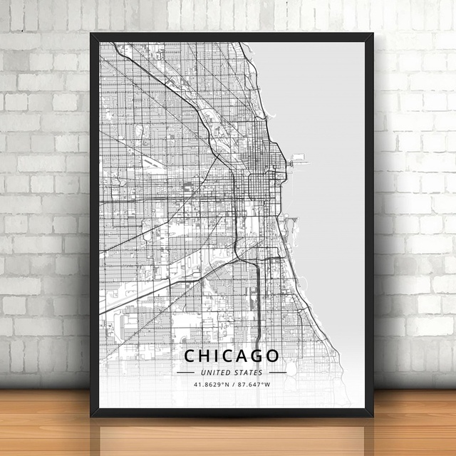 Chicago Map Canvas.Chicago United States Modern City Map Canvas Art Print Home Room